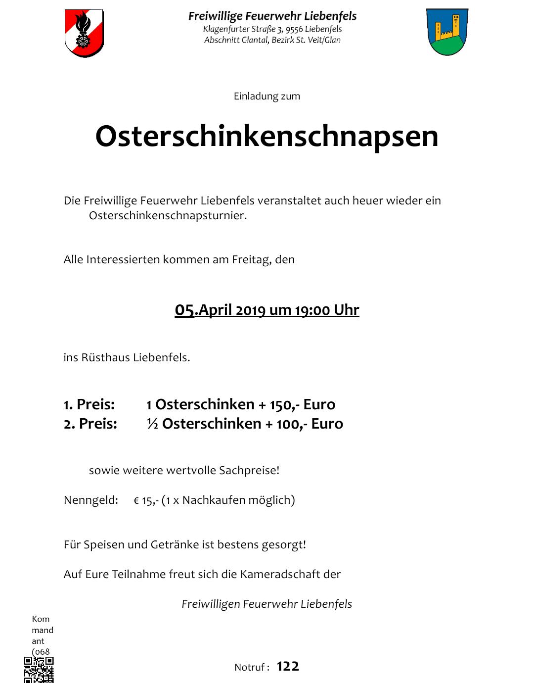 Osterschinkenschnapsen 6.4.2016